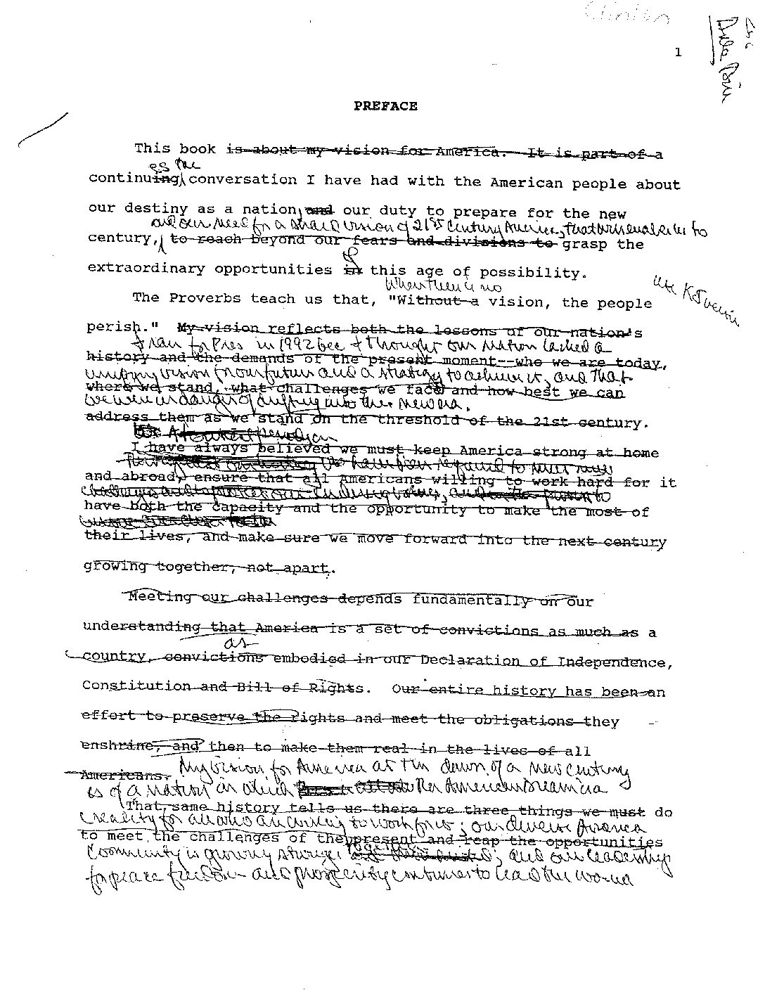 """President Clinton's edits on """"Between Hope and History"""""""