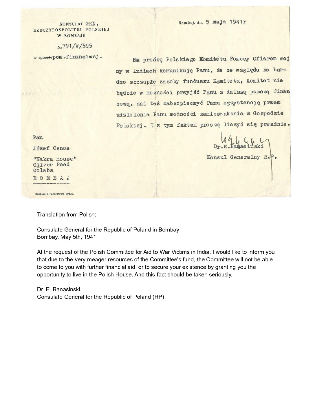 Bombay May 1941 from Polish Consulate