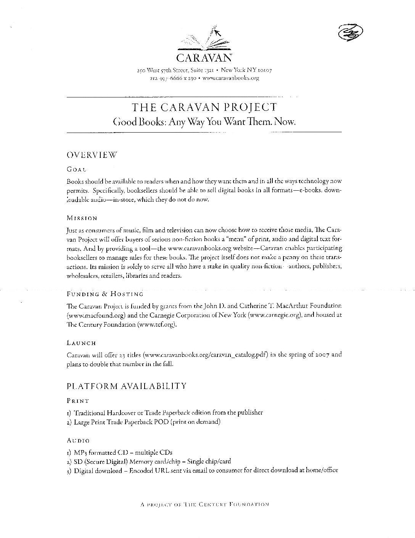 A Caravan summary for foundations