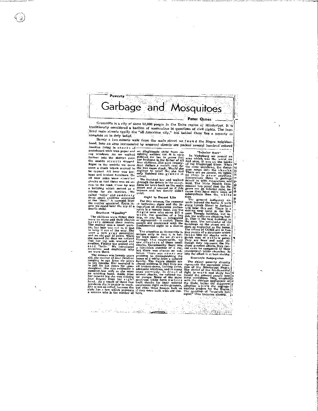 First ever byline in The Justice, 1962