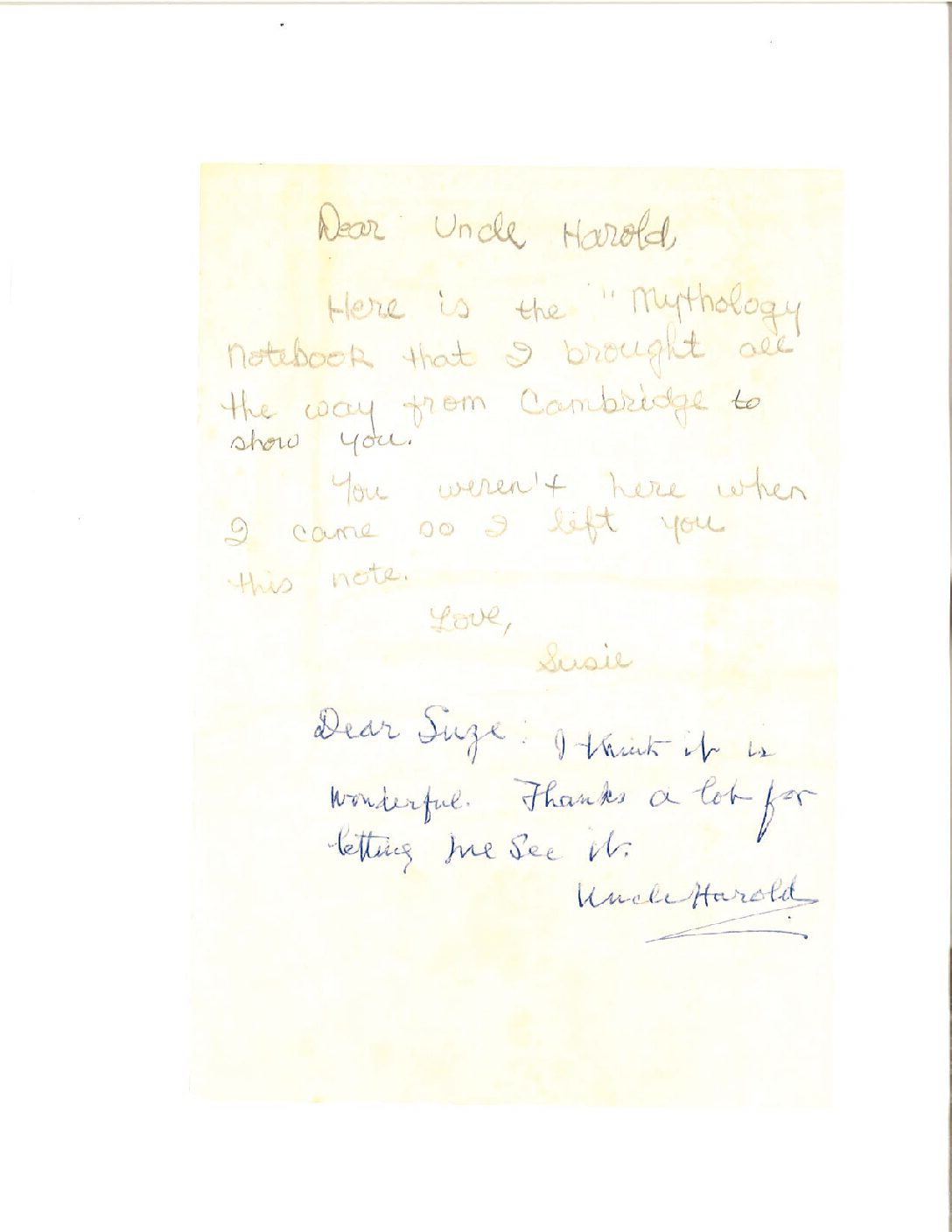 A note to Uncle Harold