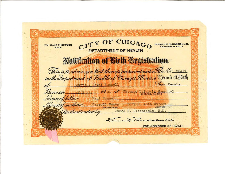 MaMare's birth certificate