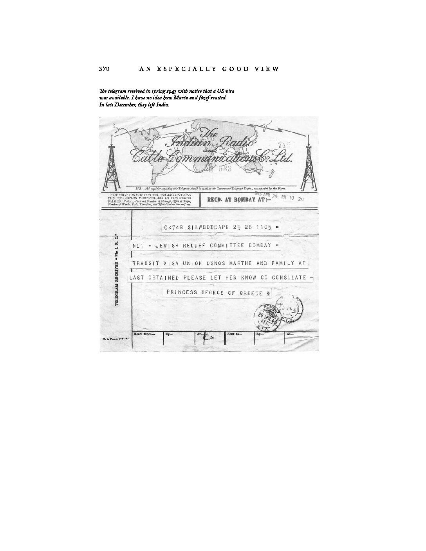 Telegram, Spring 1943