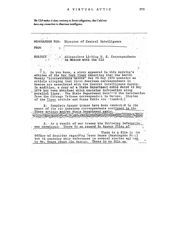 Memorandum from the CIA
