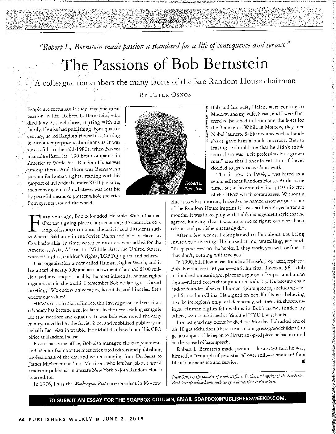 RLB in Publishers Weekly